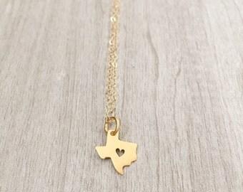 TEXAS | Texas State Necklace Gold | Gold Texas Pendant Necklace | Texas Heart Necklace | Tiny Texas Charm Necklace | Gold Texas State