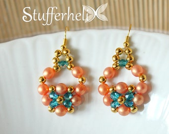 Pearl Earrings gold, orange and turquoise