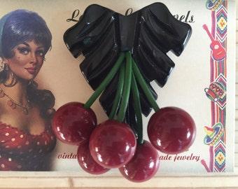 Vintage inspired cherries brooch, 40s 50s style, bakelite style