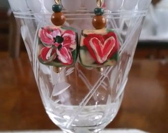 Earrings, Boho earrings,  hand painted, handmade earrings, Valentine's Day gifts, Heart earrings,Vintage earrings, teen earrings, OOAK, BOHO