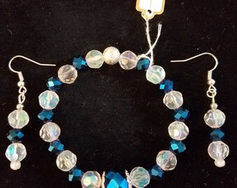 Glass beads bracelet and earing