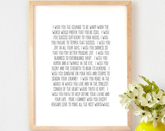 Art Print OR Canvas, Robert A. Ward Quote Art, I Wish, Love Quote, Inspirational Quote, Motivational Quote, Poster Art, Graduation Gift