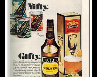 "Vintage Print Ad December 1969 : Heublein Full Strength Whiskey Sour Wall Art Decor 8.5"" x 11"" each Advertisement"