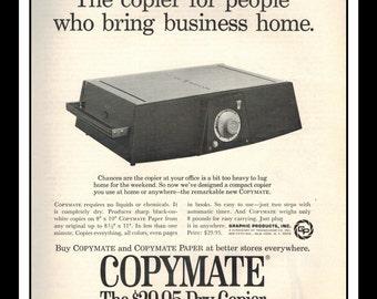 "Vintage Print Ad October 1968 : Copymate Photo Copier Wall Art Decor 8.5"" x 11"" Advertisement"