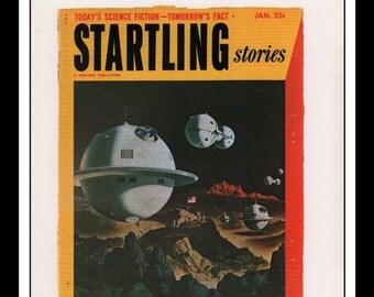 "Vintage Print Ad Sci Fi Cover : Startling Stories January 1953 Alex Schomburg Illustration Wall Art Decor 8.5"" x 11 3/4"""