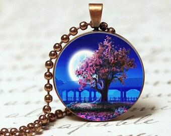 Tree of life twilight pendant necklace, Twilight garden pendant