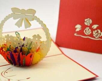 3D Cards - Thank You Card - Flower Basket Card - Pop Up Card - 3D Thank You Card-Mother Day Card- Friendship Card