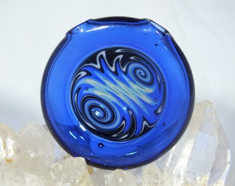 Blue x Black x White Wig Wag Glass Disk Pendant