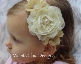 Ivory girls headband ivory flower girl headband Champagne headband ivory headband toddler headband Champagne and Ivory hair accessory girls