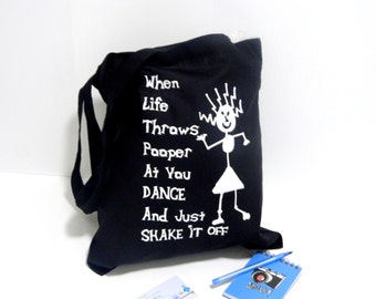 Pooper shake it off funny tote  bag with long straps SALE