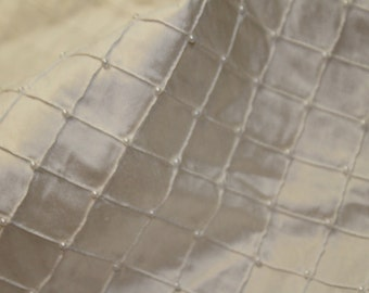 100% Silk Diamond pattern Fabric 54'' Wide, with pearl embroidery, *Sold by the yard*