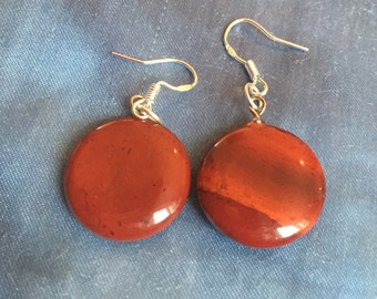 Carnelian red dangly round silver earrings