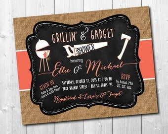 Grilling and Gadget Shower Invitation/fall, rustic, burlap, coral,honey do / DIGITAL FILE / printable / wording and colors can be changed