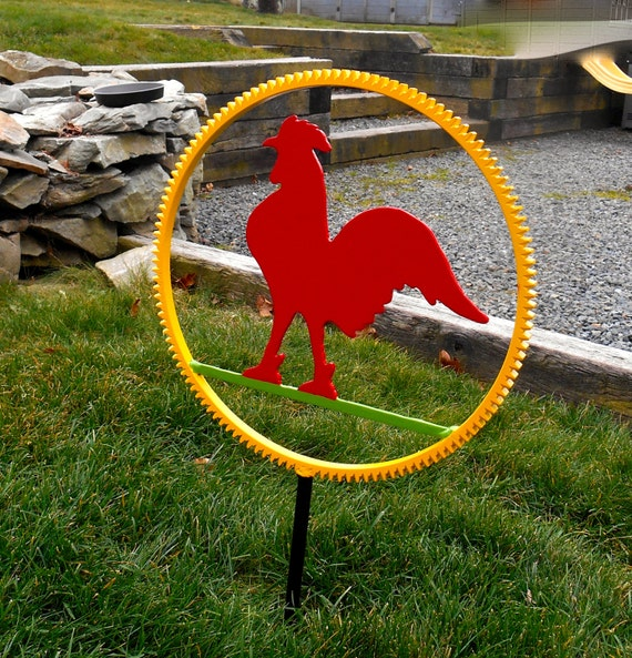 Metal rooster lawn ornament metal garden stake garden decor for Lawn and garden decorative accessories