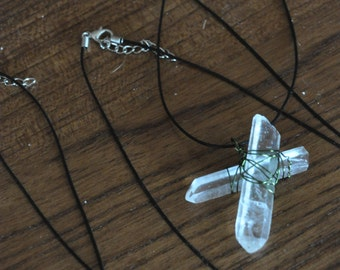 Crossbones Quartz Protection/ power stone necklace