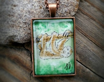 Three-Toed Sloth pendant necklace.  Sloth necklace, Hand-Painted in watercolor in vintage-style antiqued copper bezel frame.