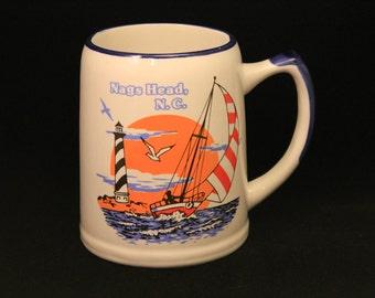 Nag's Head Mug Vintage Heavy Duty 5 inch Ceramic Mug from Nag's Head N.C. with Sail Boat and Light House Design
