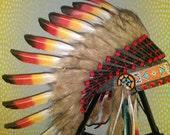 Real Feather Headdress, Indian Headdress, Warbonnet, Chief Indian Style Hat, Bohemian Headpiece, Native American Costume, Gypsy soul