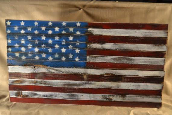 Items similar to Rustic Wooden American Flag wall decorations on Etsy