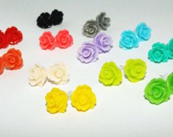Small rose stud earrings - Tiny rose stud earings - Small rose studs - Rose post earrings - Flower girl earrings - Flower stud earrings