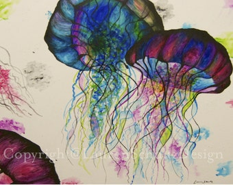 Colors of the Sea Jellyfish Print