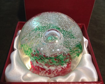 """Royal Crest 'Mensa"""" Paperweight Hand Blown Boxed"""