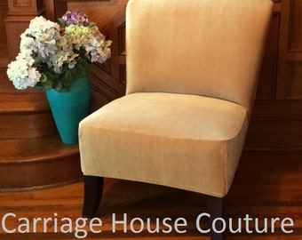 Slipcover Gold Stretch Velvet Chair Cover for Armless Chair, Slipper Chair, Accent Chair, Parsons Chair,Teal,Plum,Brown,Gray,Beige,Cranberry