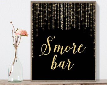 S'more Bar Sign DIY / Elegant Gold Wedding Sign / Great Gatsby, Bokeh String Light / Black and Gold Calligraphy ▷ Instant Download JPEG