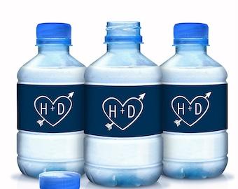 Monogram Water Bottle Labels - Wedding Water Labels - Custom Water Bottle Labels - Carved Initials - Bottle Wraps - Hotel Bags - Heart