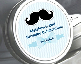"""12 Mustache and Bow Birthday Mint Tins - Need a different quantity? Click on the """"choose total"""" tab to see all pricing"""