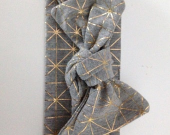 A Touch of Gold Top Knot Headband / Stretchy Headband / Grey / Gold / Cotton Jersey / Soft / Australian Made / Bow / Knotted Headband