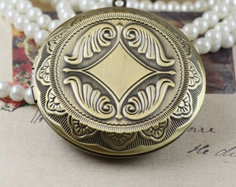 1PC/Bulk Sale, Big Antique Bronze Round Locket –Vintage DIY Jewelry Supplies, 05978