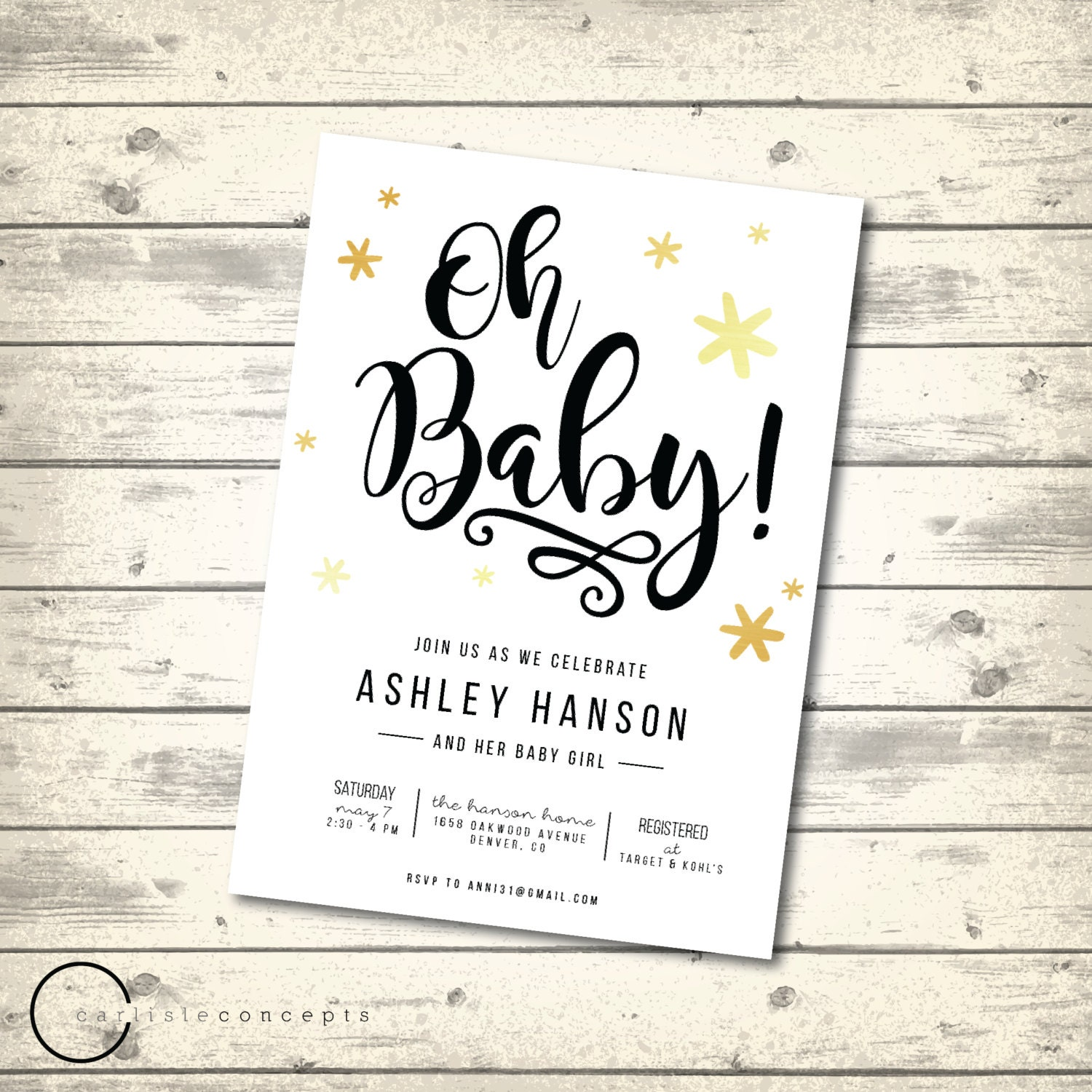 simple white baby shower invitation gold stars baby shower