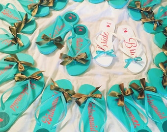 Personalized MINT Flip Flops for wedding Favors, BRIDAL parties, Bridesmaids, BIRTHDAYS, Save the Dates, Vacations, novelty gifts
