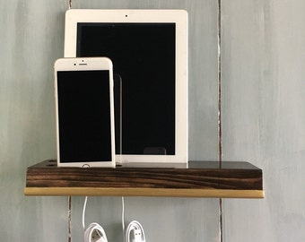 iPhone docking station, elegant wood wall docking station color gold and dark coffee, charging station
