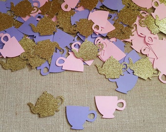 150 Teacup Confetti, Alice in Wonderland Confetti, Tea Party Confetti,  Birthday, Girls Birthday Confetti