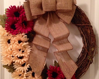 18-inch Grapevine Wreath - White and Purple/Maroon Flowers with a Burlap Bow
