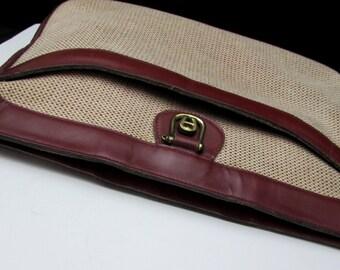 70s etienne aigner tweed + oxblood leather vintage shoulder purse | burgundy shoulder handle handbag bag | 1970s metal a logo tag genuine