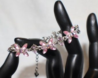 Stunning Austrian Crystal Delicate Pink and Irridescent Stones on Silver Bracelet Petite