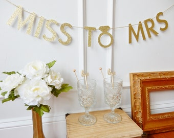 Bridal Shower Banner - Miss To Mrs - Bachelorette Banner - Bachelorette Party Decor - Bridal Shower Decoration - Bride To Be