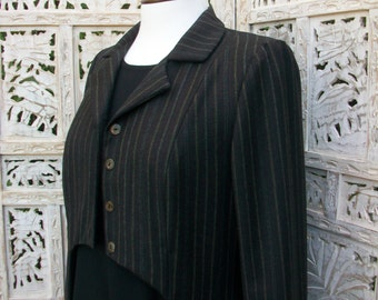 Women's Coat with Tails, Long Coat, Made to order, Light Pure Wool Brown Pinstriped Designer Coat by Nana Bugler