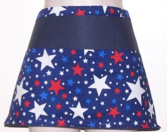 Handmade server waitress half apron  Patroitic Stars  with three pockets 6752