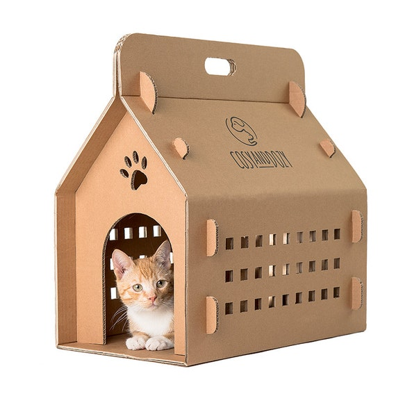 Cardboard box cat box cat carrier eco carry box by cosyanddozy for Make a cat bed out of a box