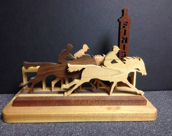 Off to the races-  Horse racing wood craft