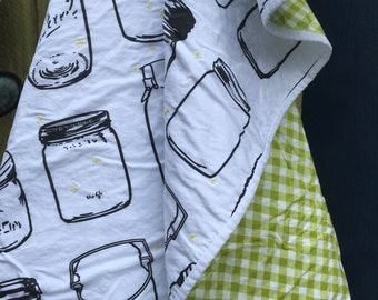 One of a kind baby quilt! Mason Jars & Fireflies/Black and White/Gingham/Green/Spoonflower