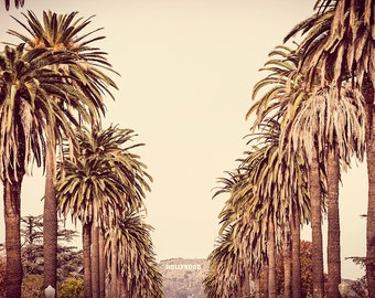 Los Angeles Photography, Hollywood Sign, Extra Large Wall Art, Yellow, Gold, Cream, Beige, Urban Photography, Large Print, California Decor