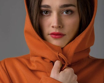 Long hoodie jacket in lovely orange with pockets