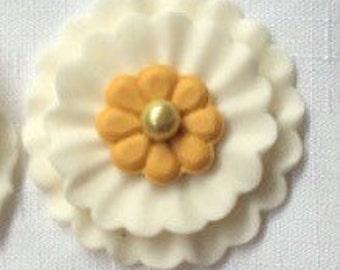 "edible fondant flowers 2""  white gold fondant topper brooch flower cake topper decorations cupcake toppers wedding cake topper favors"