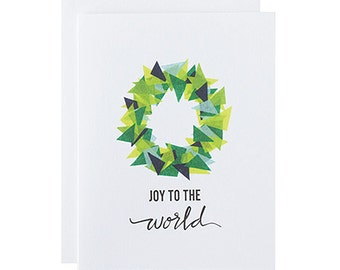 "Letterpress Holiday Boxed Set, ""Joy to the World"", Hand Lettering, Modern, Christmas, Greeting Card"