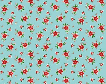 Pixie Noel by Riley Blake - Floral Aqua - Cotton Woven Fabric